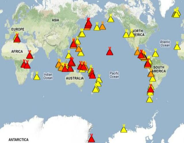 Mapa de volcanes en erupción